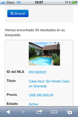 Propertyshelf Nicaragua MLS Listing Search on the Iphone 4 Property View